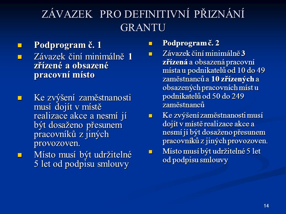 14 ZÁVAZEK PRO DEFINITIVNÍ PŘIZNÁNÍ GRANTU Podprogram č. 1 Podprogram č. 1 Závazek činí minimálně 1 zřízené a obsazené pracovní místo Závazek činí min