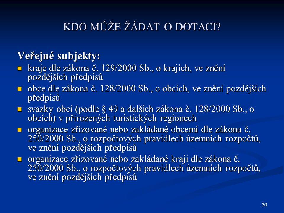30 KDO MŮŽE ŽÁDAT O DOTACI. Veřejné subjekty: kraje dle zákona č.