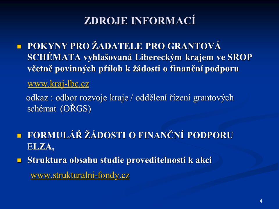 4 ZDROJE INFORMACÍ POKYNY PRO ŽADATELE PRO GRANTOVÁ SCHÉMATA vyhlašovaná Libereckým krajem ve SROP včetně povinných příloh k žádosti o finanční podporu POKYNY PRO ŽADATELE PRO GRANTOVÁ SCHÉMATA vyhlašovaná Libereckým krajem ve SROP včetně povinných příloh k žádosti o finanční podporu www.kraj-lbc.cz www.kraj-lbc.cz www.kraj-lbc.cz odkaz : odbor rozvoje kraje / oddělení řízení grantových schémat (OŘGS) odkaz : odbor rozvoje kraje / oddělení řízení grantových schémat (OŘGS) FORMULÁŘ ŽÁDOSTI O FINANČNÍ PODPORU ELZA, FORMULÁŘ ŽÁDOSTI O FINANČNÍ PODPORU ELZA, Struktura obsahu studie proveditelnosti k akci Struktura obsahu studie proveditelnosti k akci www.strukturalni-fondy.cz www.strukturalni-fondy.cz www.strukturalni-fondy.cz