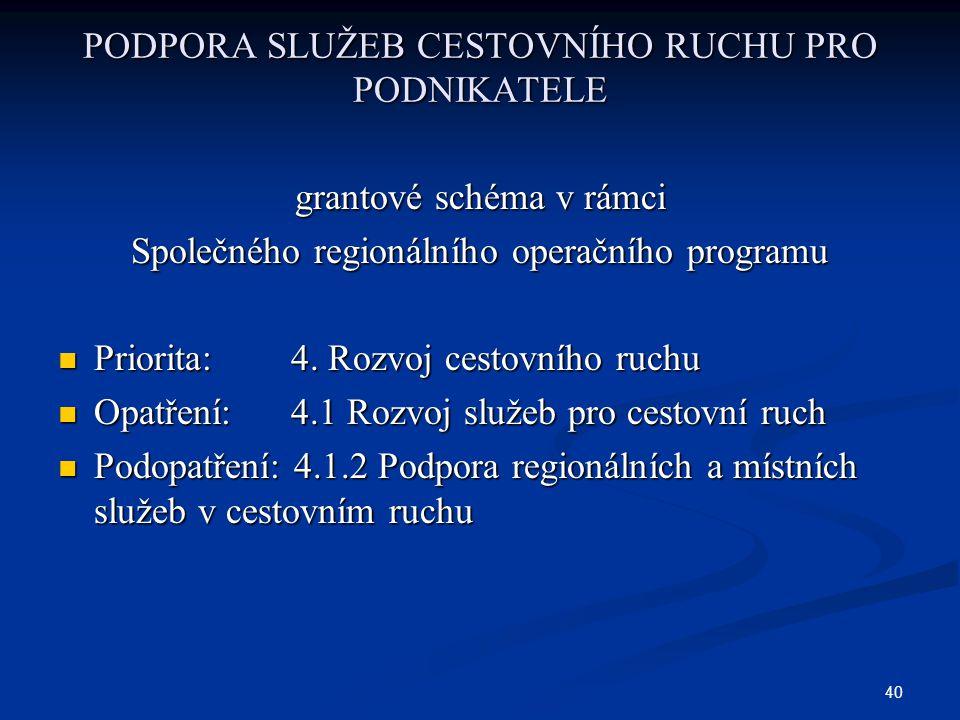 40 PODPORA SLUŽEB CESTOVNÍHO RUCHU PRO PODNIKATELE grantové schéma v rámci Společného regionálního operačního programu Priorita: 4.