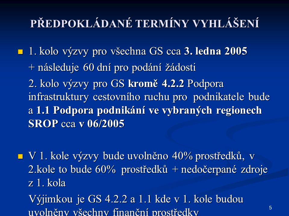 5 PŘEDPOKLÁDANÉ TERMÍNY VYHLÁŠENÍ 1. kolo výzvy pro všechna GS cca 3. ledna 2005 1. kolo výzvy pro všechna GS cca 3. ledna 2005 + následuje 60 dní pro