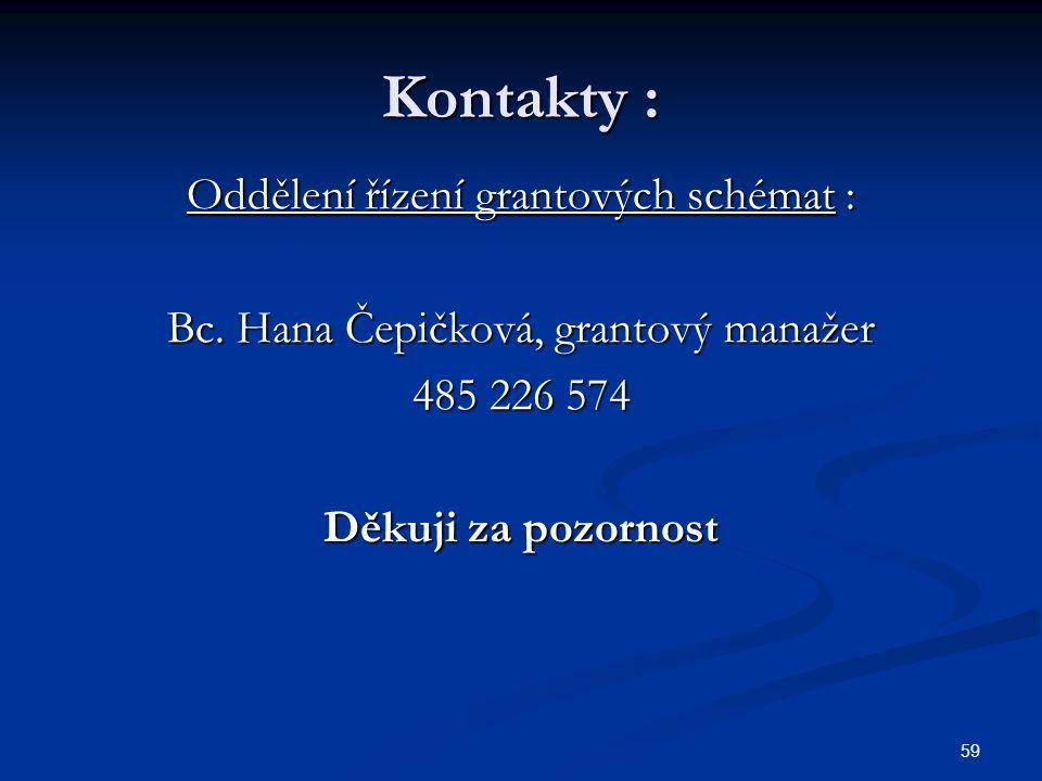 59 Kontakty : Oddělení řízení grantových schémat : Bc. Hana Čepičková, grantový manažer 485 226 574 Děkuji za pozornost
