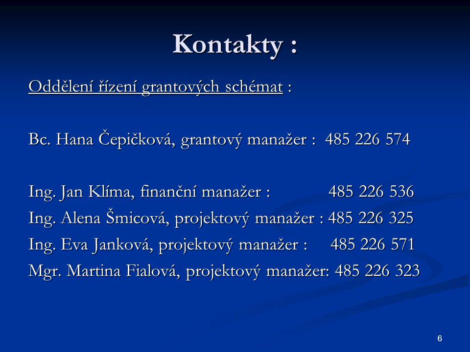 6 Kontakty : Oddělení řízení grantových schémat : Bc. Hana Čepičková, grantový manažer : 485 226 574 Ing. Jan Klíma, finanční manažer : 485 226 536 In