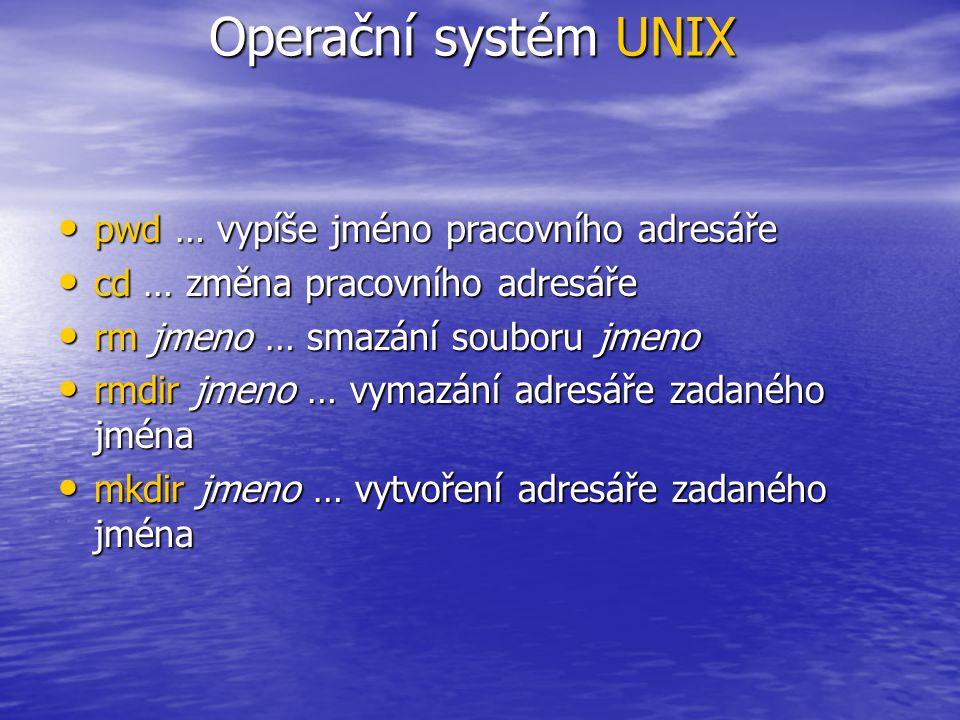 Editor vi fest ~ > vi [jménosouboru] režim příkazový vkládací (pohybu kurzoru) Přechody mezi režimy Vkládací režim: i … vkládání před kurzorem a … vkládání za kurzorem o … vložení prázdného řádku a začátek vkládání přechod do příkazového režimu přechod do příkazového režimu Operační systém UNIX