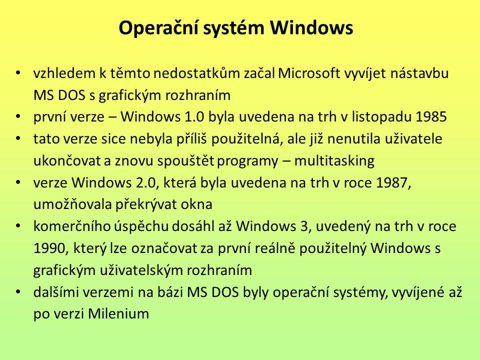 vzhledem k těmto nedostatkům začal Microsoft vyvíjet nástavbu MS DOS s grafickým rozhraním první verze – Windows 1.0 byla uvedena na trh v listopadu 1985 tato verze sice nebyla příliš použitelná, ale již nenutila uživatele ukončovat a znovu spouštět programy – multitasking verze Windows 2.0, která byla uvedena na trh v roce 1987, umožňovala překrývat okna komerčního úspěchu dosáhl až Windows 3, uvedený na trh v roce 1990, který lze označovat za první reálně použitelný Windows s grafickým uživatelským rozhraním dalšími verzemi na bázi MS DOS byly operační systémy, vyvíjené až po verzi Milenium Operační systém Windows