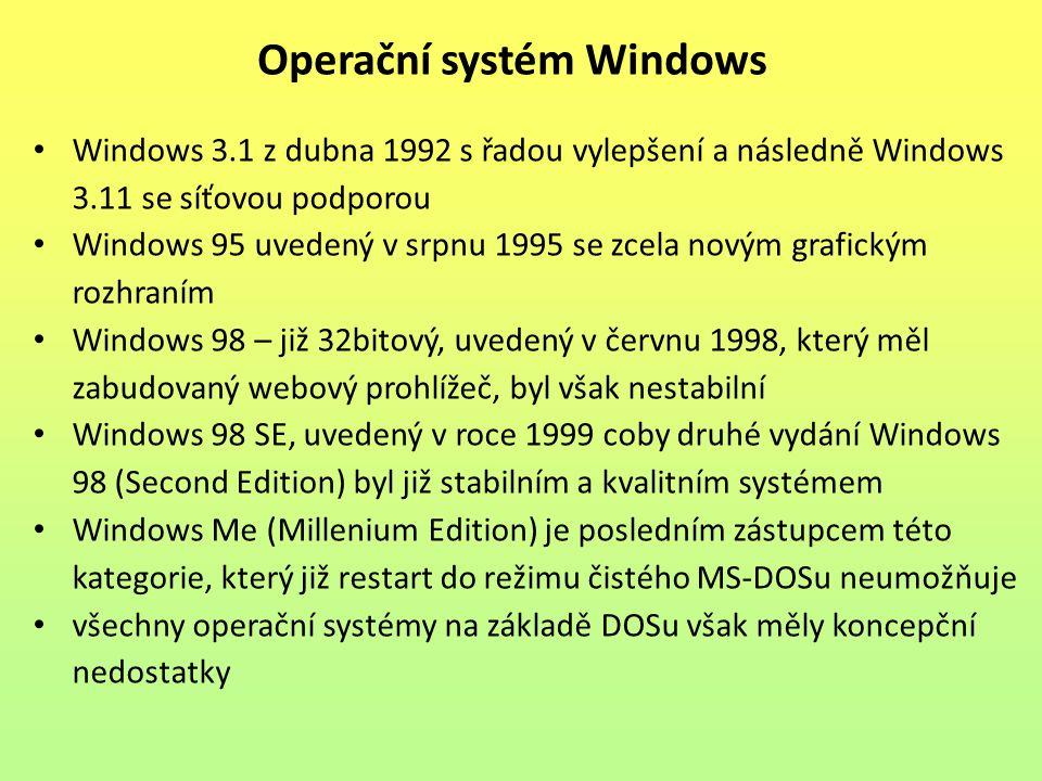 Windows 3.1 z dubna 1992 s řadou vylepšení a následně Windows 3.11 se síťovou podporou Windows 95 uvedený v srpnu 1995 se zcela novým grafickým rozhraním Windows 98 – již 32bitový, uvedený v červnu 1998, který měl zabudovaný webový prohlížeč, byl však nestabilní Windows 98 SE, uvedený v roce 1999 coby druhé vydání Windows 98 (Second Edition) byl již stabilním a kvalitním systémem Windows Me (Millenium Edition) je posledním zástupcem této kategorie, který již restart do režimu čistého MS-DOSu neumožňuje všechny operační systémy na základě DOSu však měly koncepční nedostatky Operační systém Windows