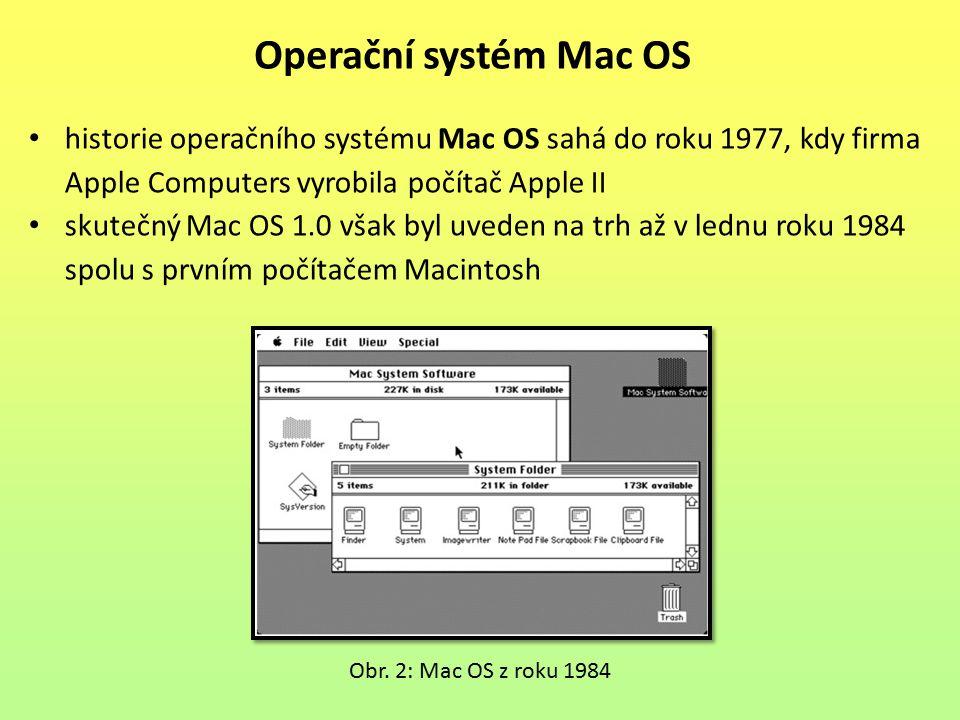 historie operačního systému Mac OS sahá do roku 1977, kdy firma Apple Computers vyrobila počítač Apple II skutečný Mac OS 1.0 však byl uveden na trh až v lednu roku 1984 spolu s prvním počítačem Macintosh Operační systém Mac OS Obr.