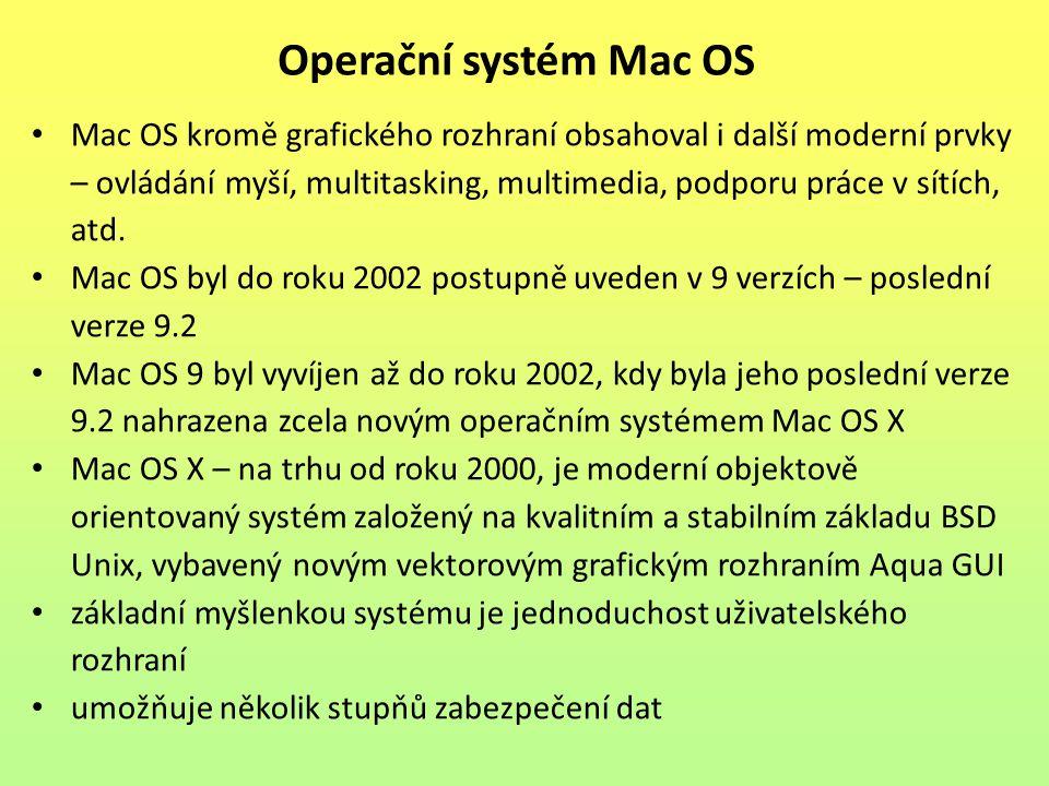 Mac OS kromě grafického rozhraní obsahoval i další moderní prvky – ovládání myší, multitasking, multimedia, podporu práce v sítích, atd. Mac OS byl do