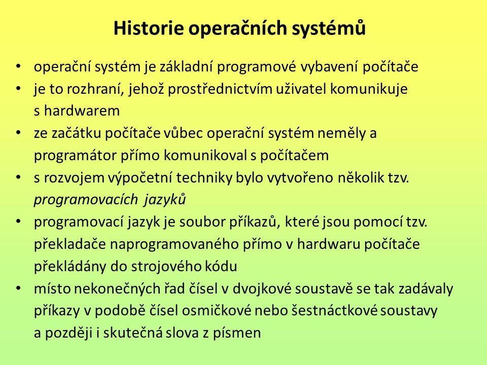 operační systém je základní programové vybavení počítače je to rozhraní, jehož prostřednictvím uživatel komunikuje s hardwarem ze začátku počítače vůbec operační systém neměly a programátor přímo komunikoval s počítačem s rozvojem výpočetní techniky bylo vytvořeno několik tzv.