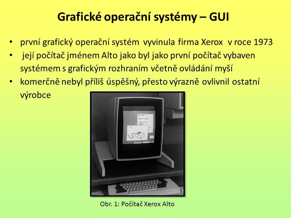 první grafický operační systém vyvinula firma Xerox v roce 1973 její počítač jménem Alto jako byl jako první počítač vybaven systémem s grafickým rozhraním včetně ovládání myší komerčně nebyl příliš úspěšný, přesto výrazně ovlivnil ostatní výrobce Grafické operační systémy – GUI Obr.