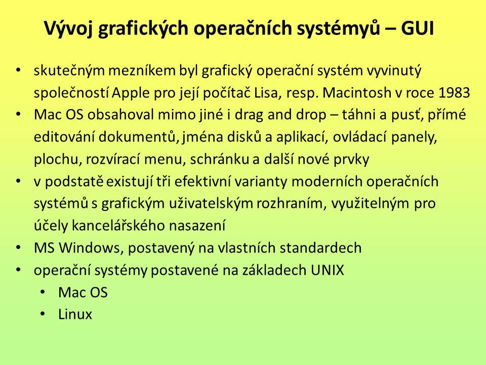 skutečným mezníkem byl grafický operační systém vyvinutý společností Apple pro její počítač Lisa, resp. Macintosh v roce 1983 Mac OS obsahoval mimo ji
