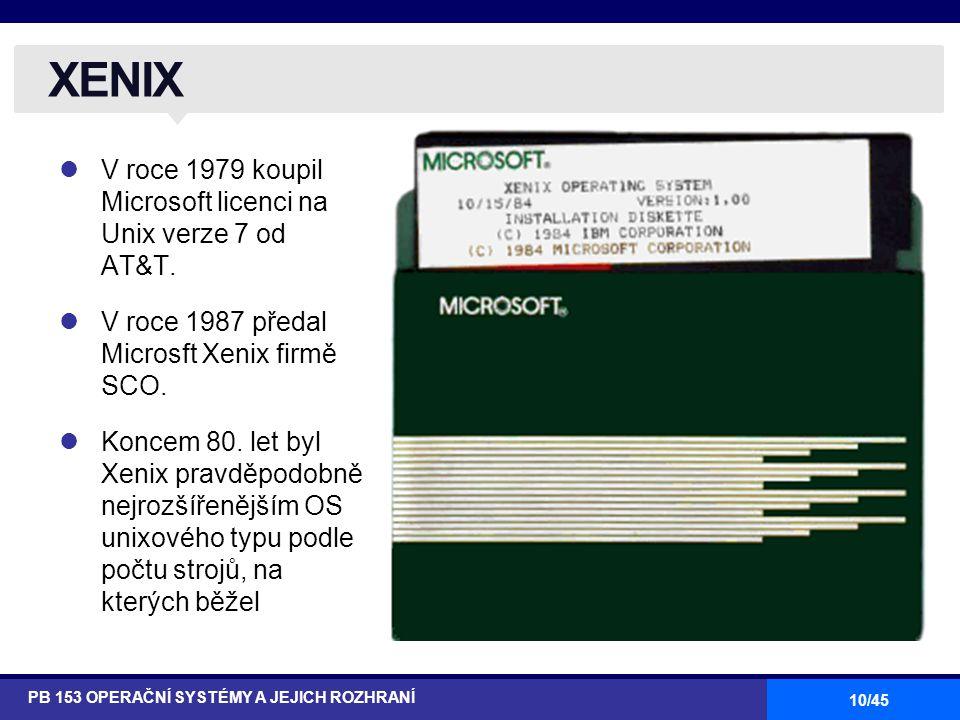 10/45 V roce 1979 koupil Microsoft licenci na Unix verze 7 od AT&T. V roce 1987 předal Microsft Xenix firmě SCO. Koncem 80. let byl Xenix pravděpodobn