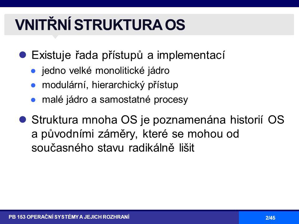 2/45 Existuje řada přístupů a implementací ●jedno velké monolitické jádro ●modulární, hierarchický přístup ●malé jádro a samostatné procesy Struktura