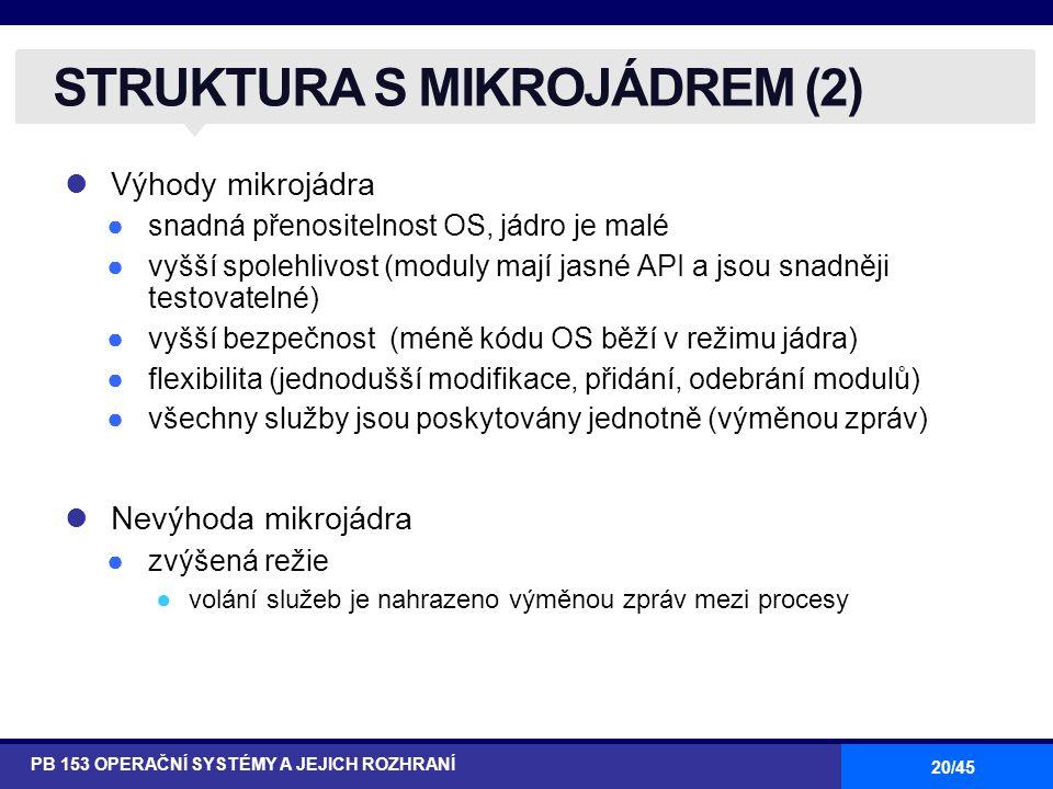 20/45 Výhody mikrojádra ●snadná přenositelnost OS, jádro je malé ●vyšší spolehlivost (moduly mají jasné API a jsou snadněji testovatelné) ●vyšší bezpečnost (méně kódu OS běží v režimu jádra) ●flexibilita (jednodušší modifikace, přidání, odebrání modulů) ●všechny služby jsou poskytovány jednotně (výměnou zpráv) Nevýhoda mikrojádra ●zvýšená režie ●volání služeb je nahrazeno výměnou zpráv mezi procesy STRUKTURA S MIKROJÁDREM (2) PB 153 OPERAČNÍ SYSTÉMY A JEJICH ROZHRANÍ