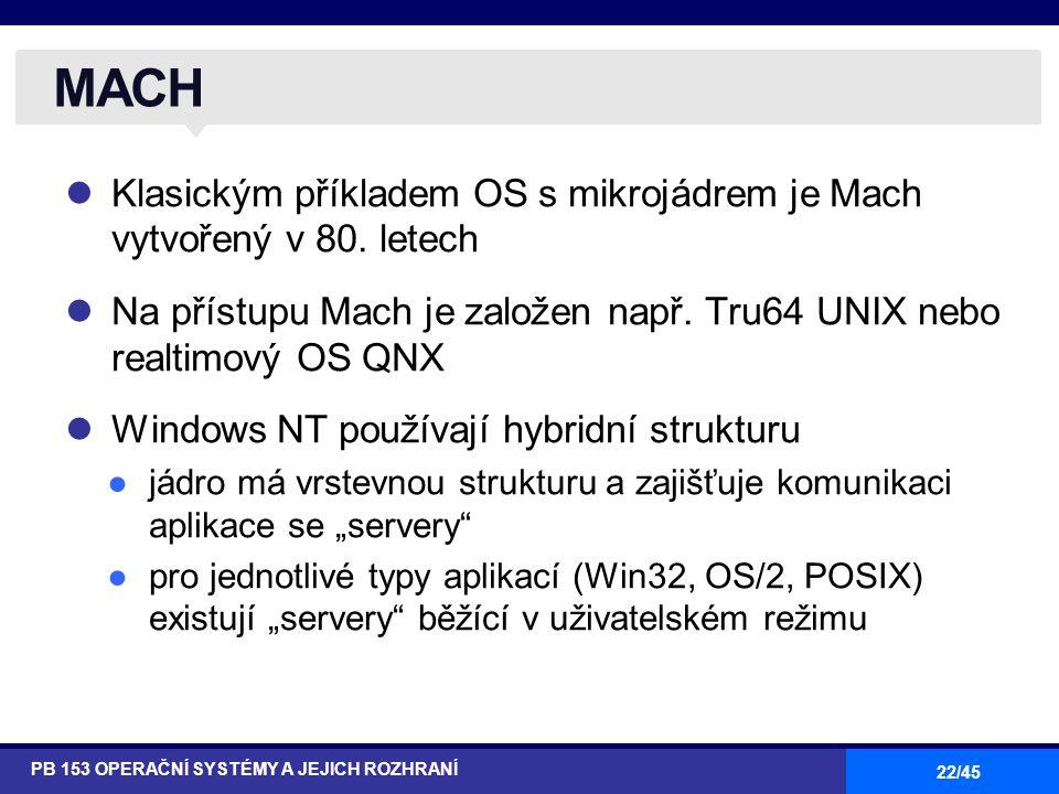 22/45 Klasickým příkladem OS s mikrojádrem je Mach vytvořený v 80. letech Na přístupu Mach je založen např. Tru64 UNIX nebo realtimový OS QNX Windows