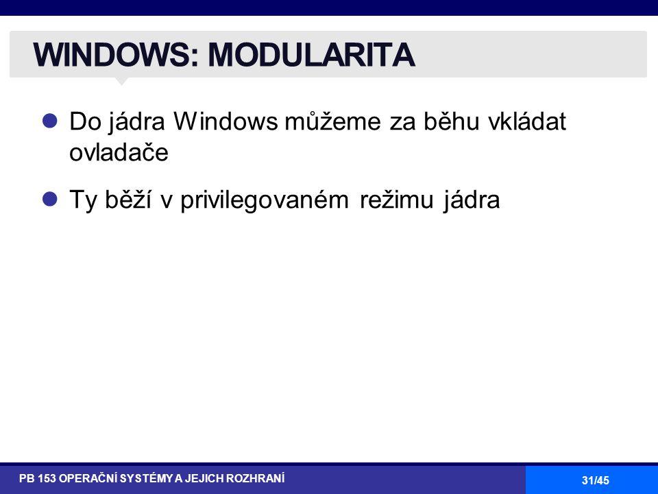 31/45 Do jádra Windows můžeme za běhu vkládat ovladače Ty běží v privilegovaném režimu jádra WINDOWS: MODULARITA PB 153 OPERAČNÍ SYSTÉMY A JEJICH ROZH