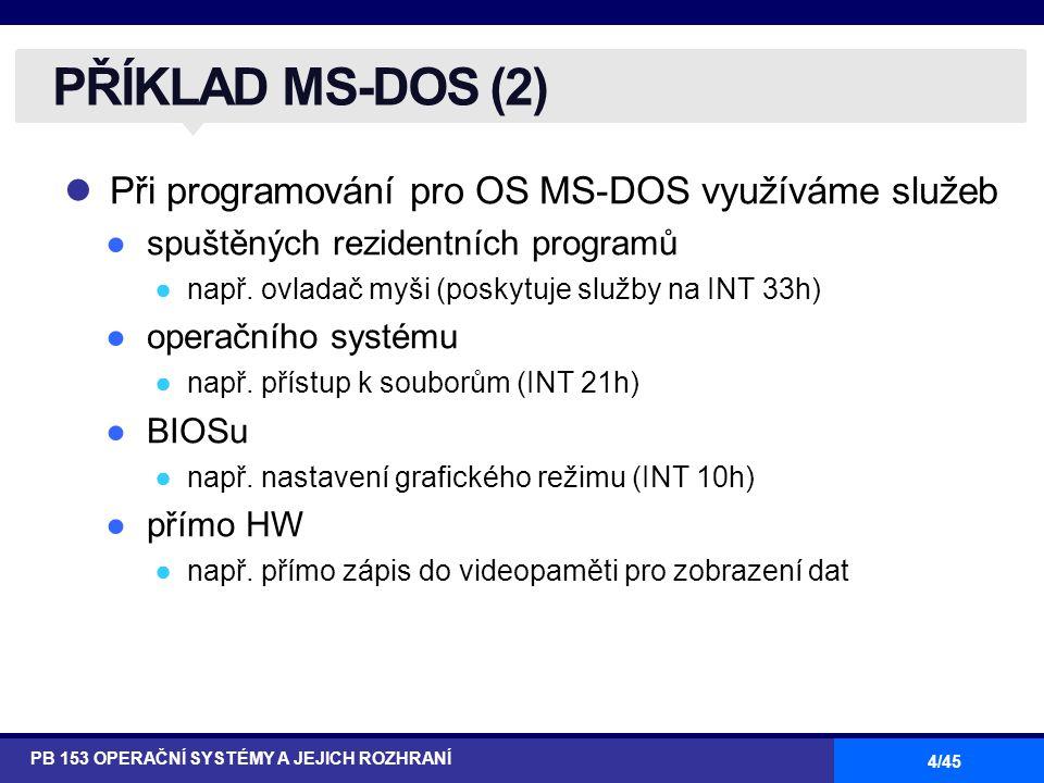 4/45 Při programování pro OS MS-DOS využíváme služeb ●spuštěných rezidentních programů ●např. ovladač myši (poskytuje služby na INT 33h) ●operačního s