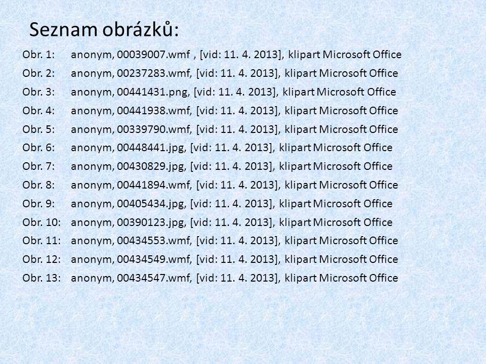 Seznam obrázků: Obr. 1:anonym, 00039007.wmf, [vid: 11. 4. 2013], klipart Microsoft Office Obr. 2:anonym, 00237283.wmf, [vid: 11. 4. 2013], klipart Mic