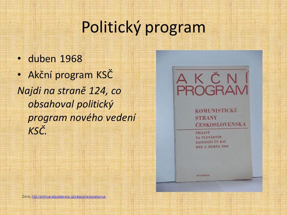 Politický program duben 1968 Akční program KSČ Najdi na straně 124, co obsahoval politický program nového vedení KSČ.