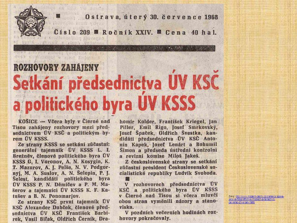 Zdroj: http://www.moderni-dejiny.cz/clanek/prazske- jaro-ve-fotografiich-symbolech-a-textech-iii- cervenec-21-srpen-1968/http://www.moderni-dejiny.cz/clanek/prazske- jaro-ve-fotografiich-symbolech-a-textech-iii- cervenec-21-srpen-1968/