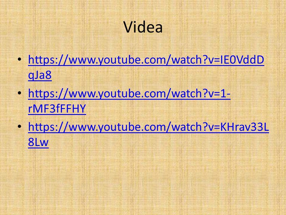 Videa https://www.youtube.com/watch?v=IE0VddD qJa8 https://www.youtube.com/watch?v=IE0VddD qJa8 https://www.youtube.com/watch?v=1- rMF3fFFHY https://www.youtube.com/watch?v=1- rMF3fFFHY https://www.youtube.com/watch?v=KHrav33L 8Lw https://www.youtube.com/watch?v=KHrav33L 8Lw