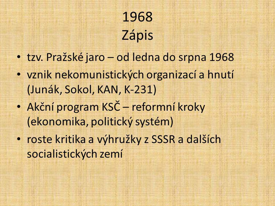 1968 Zápis tzv.