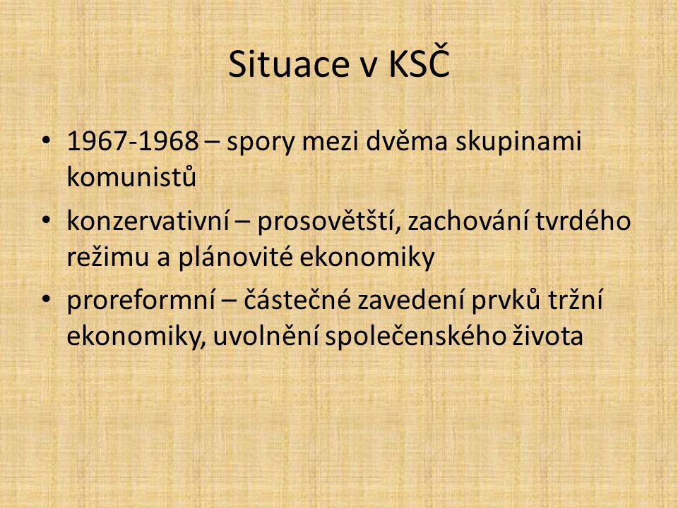 Situace v KSČ 1967-1968 – spory mezi dvěma skupinami komunistů konzervativní – prosovětští, zachování tvrdého režimu a plánovité ekonomiky proreformní – částečné zavedení prvků tržní ekonomiky, uvolnění společenského života