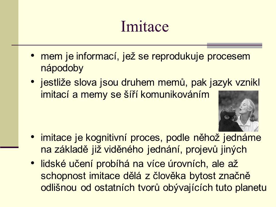 Imitace mem je informací, jež se reprodukuje procesem nápodoby jestliže slova jsou druhem memů, pak jazyk vznikl imitací a memy se šíří komunikováním