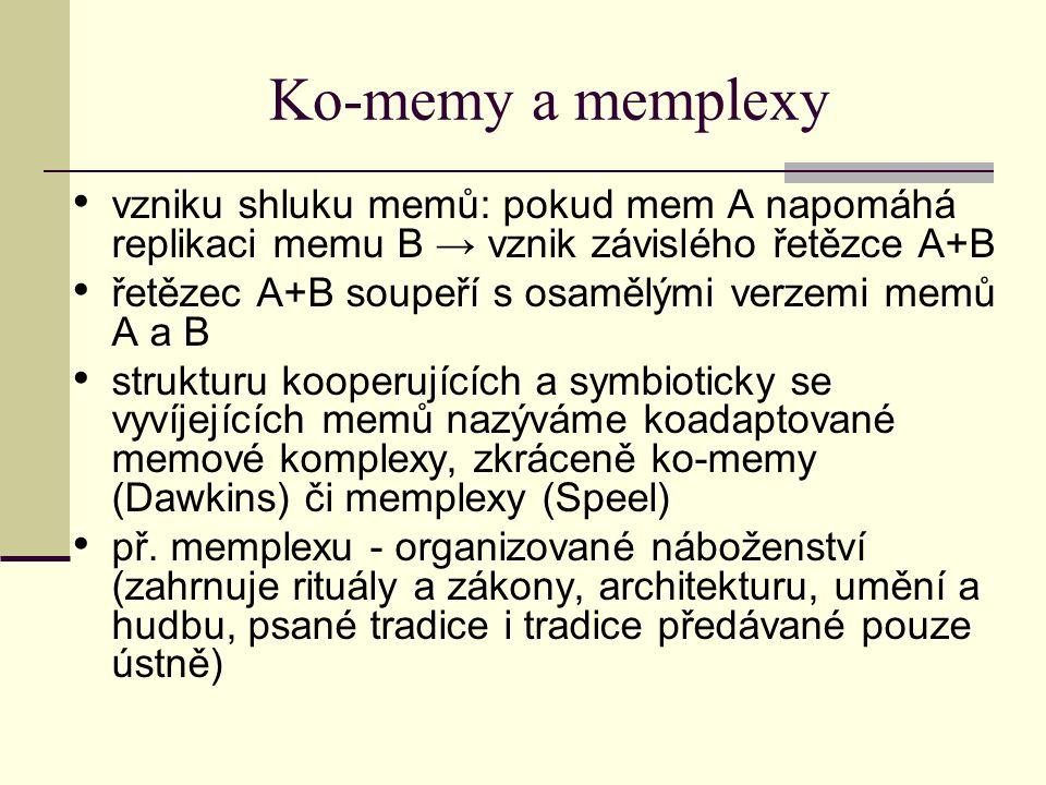 Ko-memy a memplexy vzniku shluku memů: pokud mem A napomáhá replikaci memu B → vznik závislého řetězce A+B řetězec A+B soupeří s osamělými verzemi mem
