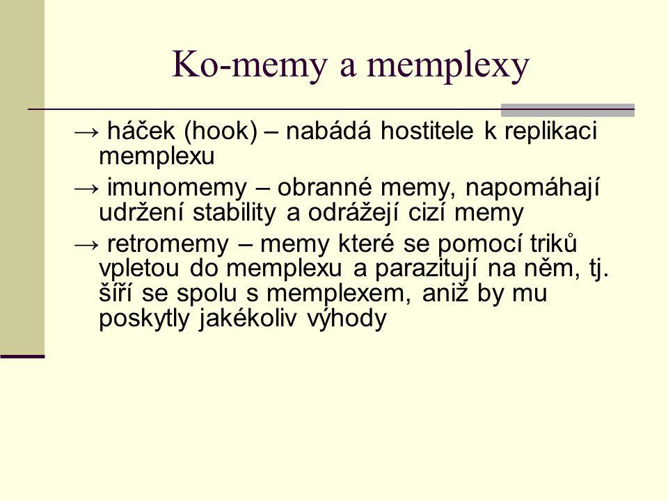Ko-memy a memplexy → háček (hook) – nabádá hostitele k replikaci memplexu → imunomemy – obranné memy, napomáhají udržení stability a odrážejí cizí mem