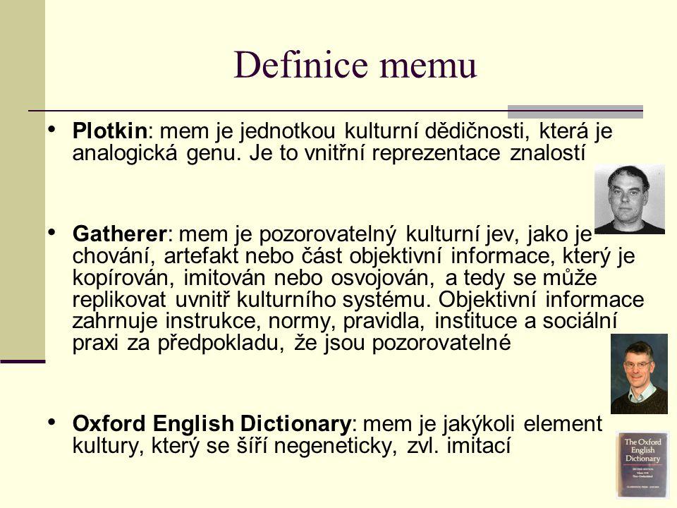Definice memu Plotkin: mem je jednotkou kulturní dědičnosti, která je analogická genu. Je to vnitřní reprezentace znalostí Gatherer: mem je pozorovate