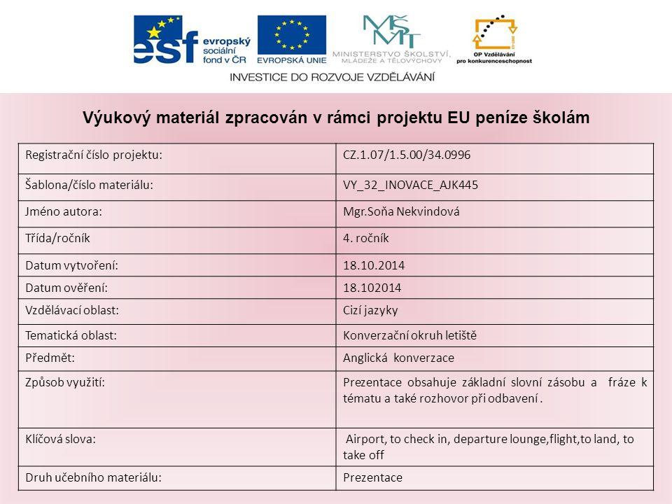 Registrační číslo projektu:CZ.1.07/1.5.00/34.0996 Šablona/číslo materiálu:VY_32_INOVACE_AJK445 Jméno autora:Mgr.Soňa Nekvindová Třída/ročník4.