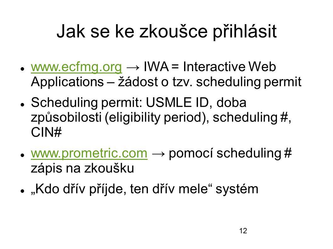 Jak se ke zkoušce přihlásit www.ecfmg.org → IWA = Interactive Web Applications – žádost o tzv. scheduling permit www.ecfmg.org Scheduling permit: USML