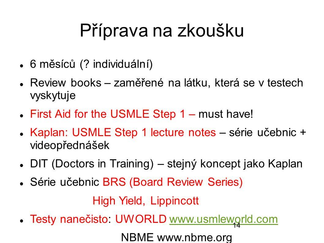 Příprava na zkoušku 6 měsíců (? individuální) Review books – zaměřené na látku, která se v testech vyskytuje First Aid for the USMLE Step 1 – must hav