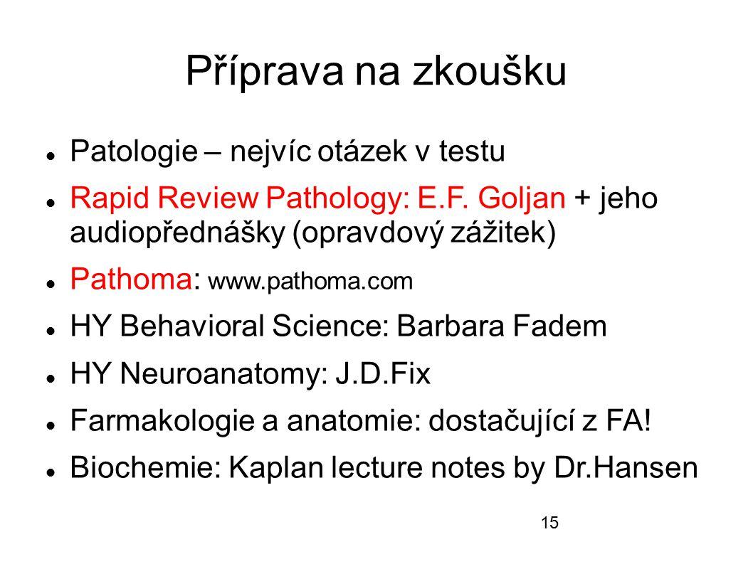 Příprava na zkoušku Patologie – nejvíc otázek v testu Rapid Review Pathology: E.F. Goljan + jeho audiopřednášky (opravdový zážitek) Pathoma: www.patho