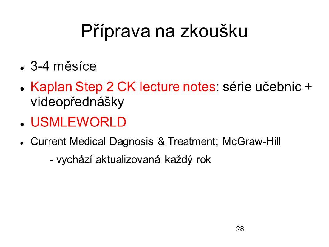 Příprava na zkoušku 3-4 měsíce Kaplan Step 2 CK lecture notes: série učebnic + videopřednášky USMLEWORLD Current Medical Dagnosis & Treatment; McGraw-