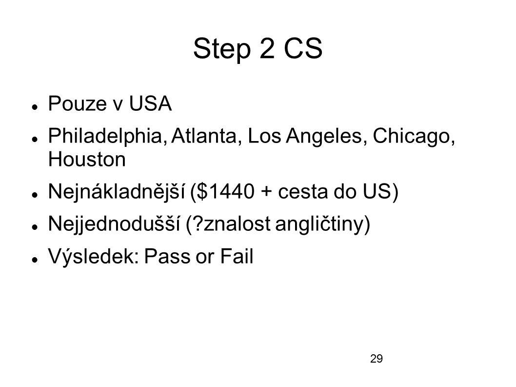 Step 2 CS Pouze v USA Philadelphia, Atlanta, Los Angeles, Chicago, Houston Nejnákladnější ($1440 + cesta do US) Nejjednodušší (?znalost angličtiny) Vý
