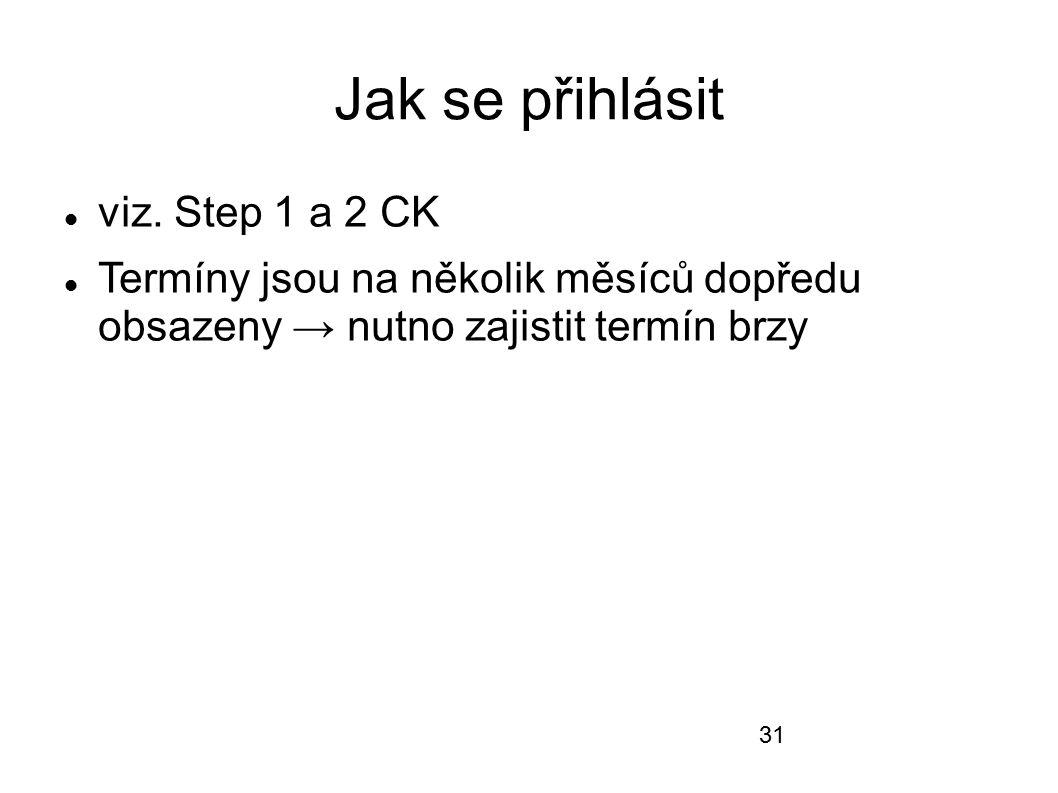 Jak se přihlásit viz. Step 1 a 2 CK Termíny jsou na několik měsíců dopředu obsazeny → nutno zajistit termín brzy 31