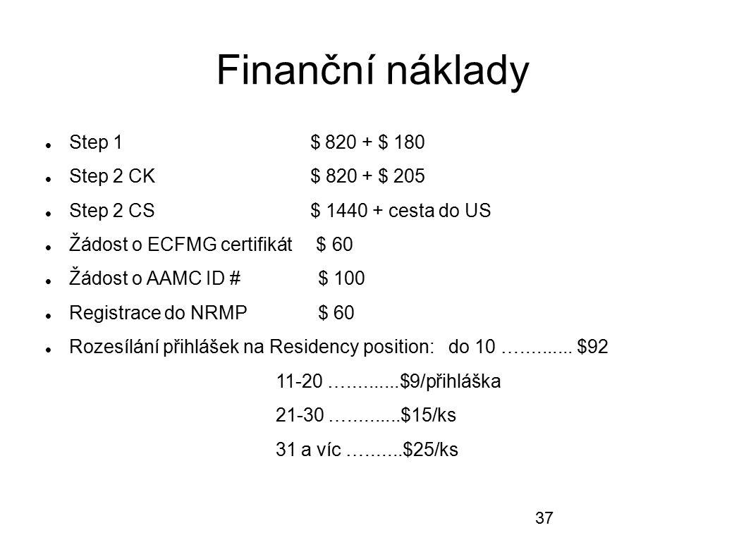 Finanční náklady Step 1 $ 820 + $ 180 Step 2 CK $ 820 + $ 205 Step 2 CS $ 1440 + cesta do US Žádost o ECFMG certifikát $ 60 Žádost o AAMC ID # $ 100 R