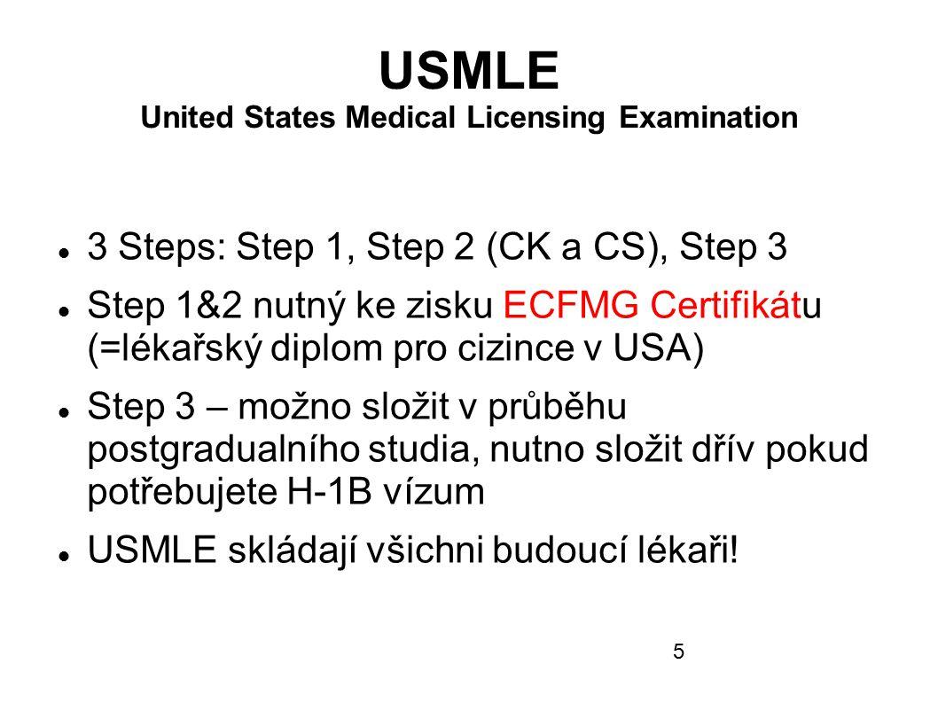 USMLE United States Medical Licensing Examination 3 Steps: Step 1, Step 2 (CK a CS), Step 3 Step 1&2 nutný ke zisku ECFMG Certifikátu (=lékařský diplo