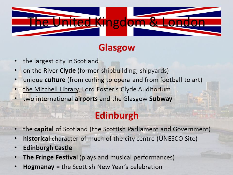 The United Kingdom & London oil industry and Aberdeen s seaport Aberdeen International Youth Festival (most talented young performing arts) the capital of Wales (seat of the National Assembly for Wales) the Taff River, the Ely River; Cardiff s port Cardiff Castle Wales Millennium Centre (arts centre located in the Cardiff Bay) the Millennium Stadium (Welsh Rugby and a major events venue) the St.