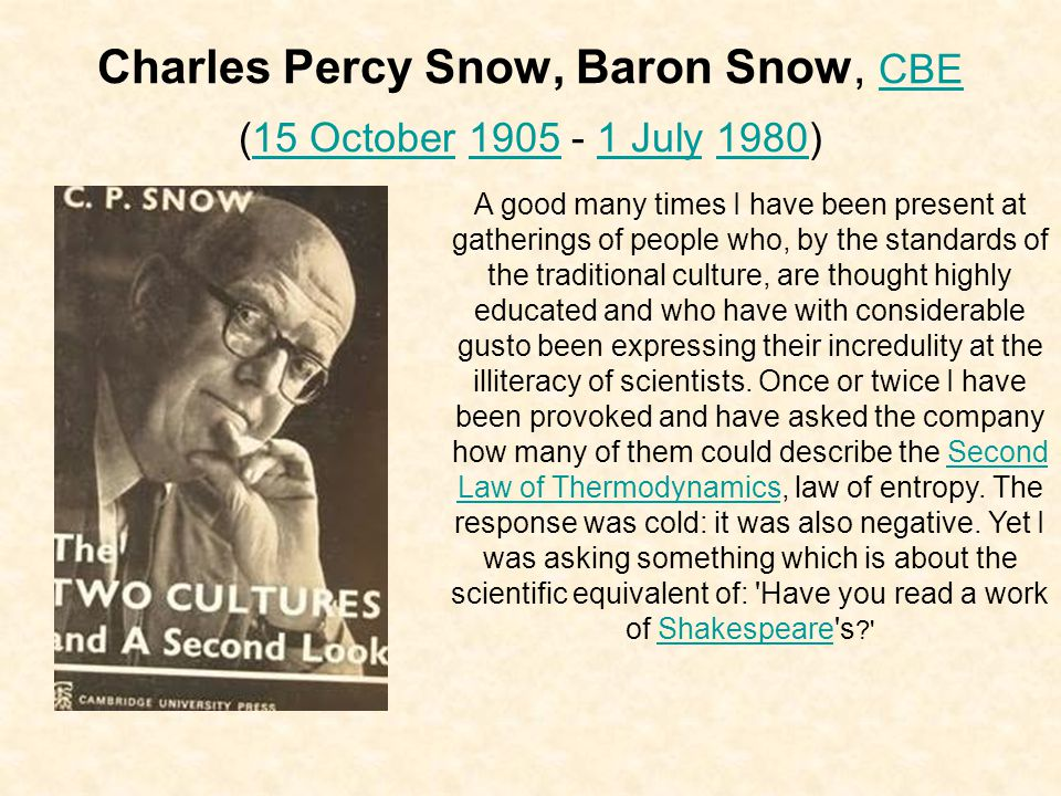Charles Percy Snow, Baron Snow, CBE (15 October 1905 - 1 July 1980) CBE15 October19051 July1980 A good many times I have been present at gatherings of