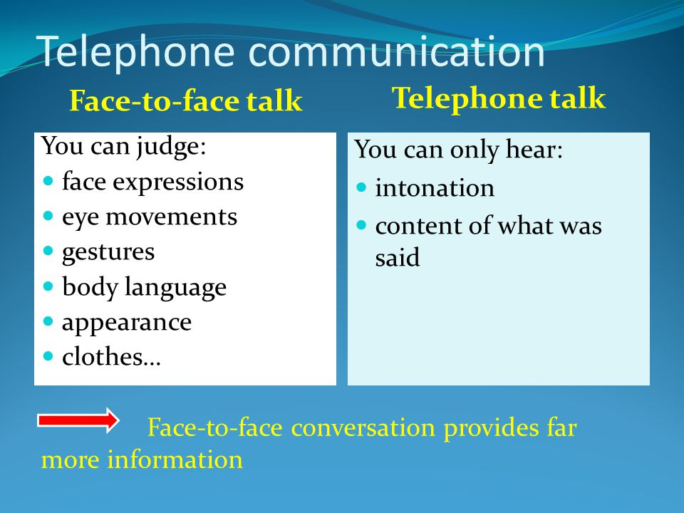 Face-to-face talk Telephone talk You can judge: face expressions eye movements gestures body language appearance clothes… You can only hear: intonatio
