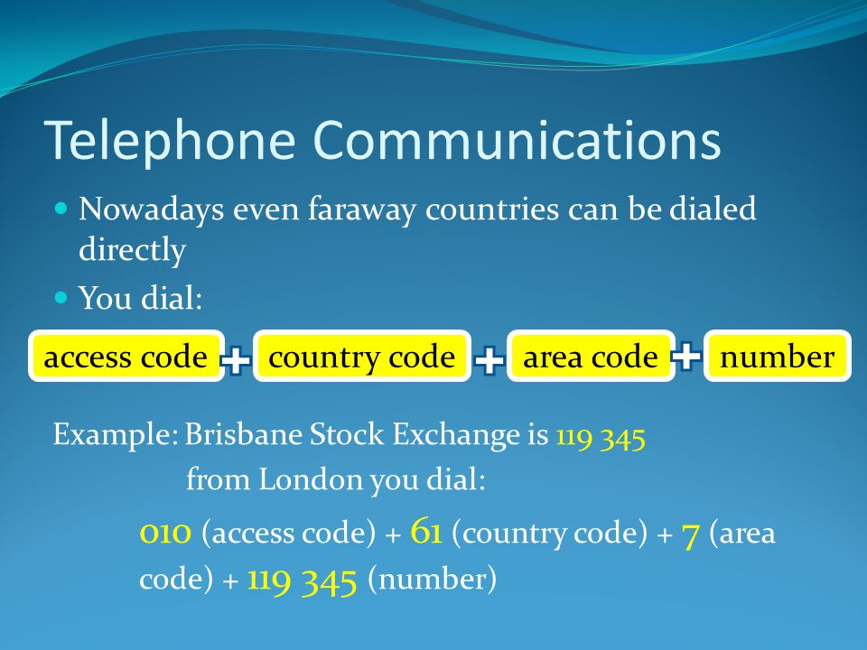 Telephone Communications Nowadays even faraway countries can be dialed directly You dial: Example: Brisbane Stock Exchange is 119 345 from London you