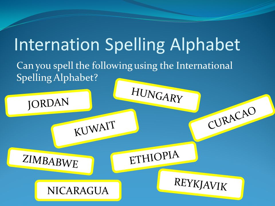 Internation Spelling Alphabet Can you spell the following using the International Spelling Alphabet? KUWAIT JORDAN HUNGARY ETHIOPIA ZIMBABWE NICARAGUA