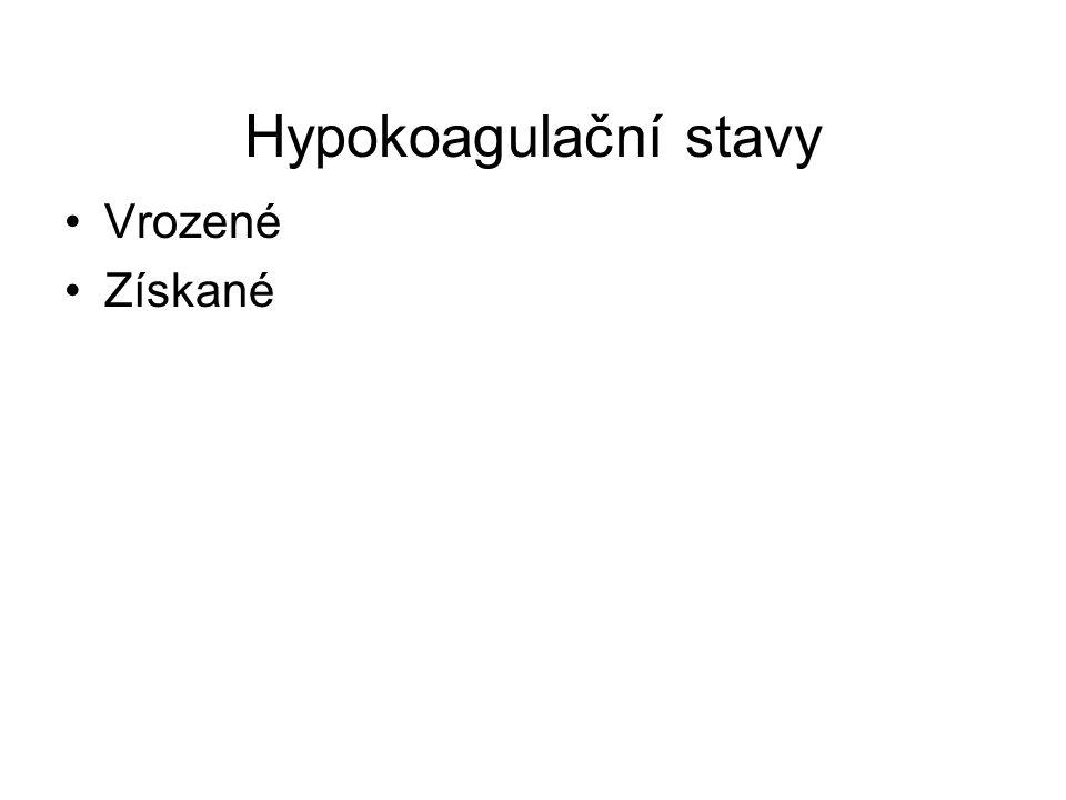 Hypokoagulační stavy Vrozené Získané