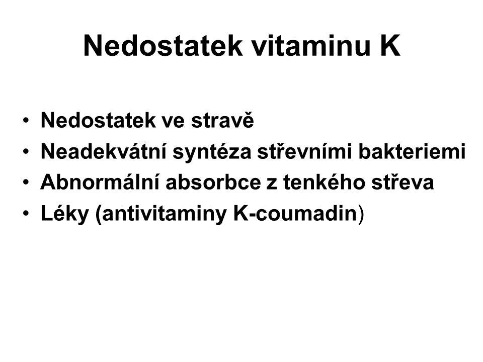 Nedostatek vitaminu K Nedostatek ve stravě Neadekvátní syntéza střevními bakteriemi Abnormální absorbce z tenkého střeva Léky (antivitaminy K-coumadin)