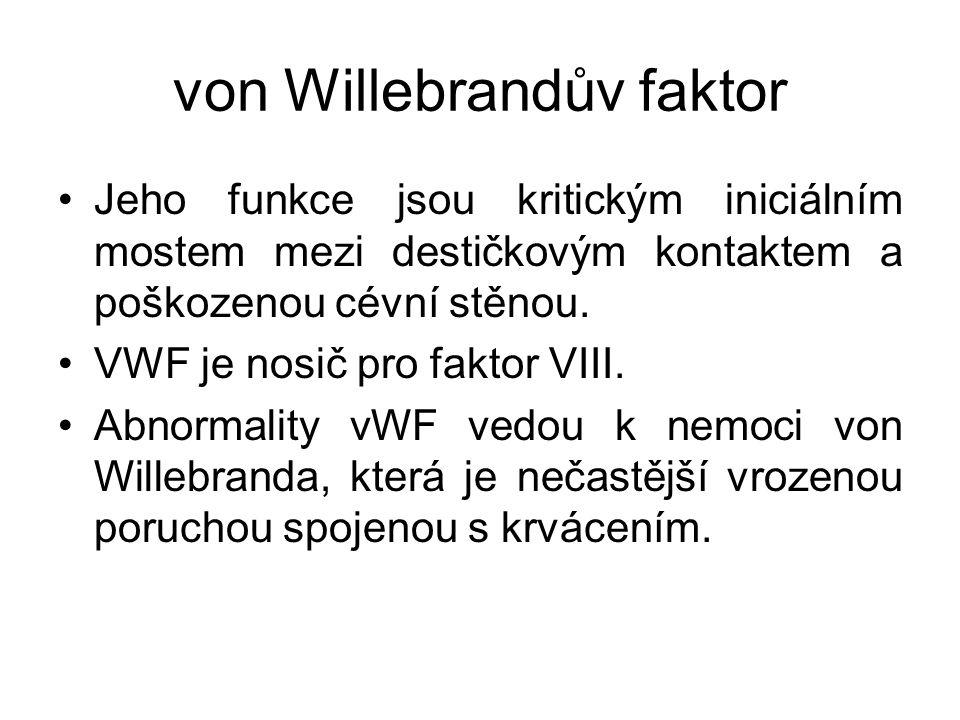 von Willebrandův faktor Jeho funkce jsou kritickým iniciálním mostem mezi destičkovým kontaktem a poškozenou cévní stěnou. VWF je nosič pro faktor VII