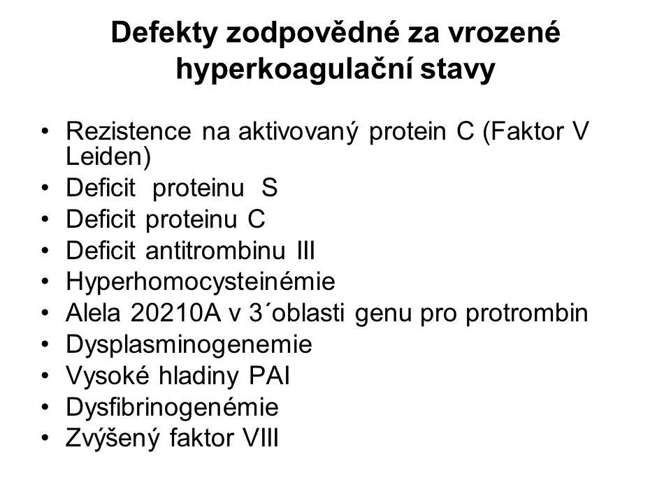 Defekty zodpovědné za vrozené hyperkoagulační stavy Rezistence na aktivovaný protein C (Faktor V Leiden) Deficit proteinu S Deficit proteinu C Deficit antitrombinu III Hyperhomocysteinémie Alela 20210A v 3´oblasti genu pro protrombin Dysplasminogenemie Vysoké hladiny PAI Dysfibrinogenémie Zvýšený faktor VIII