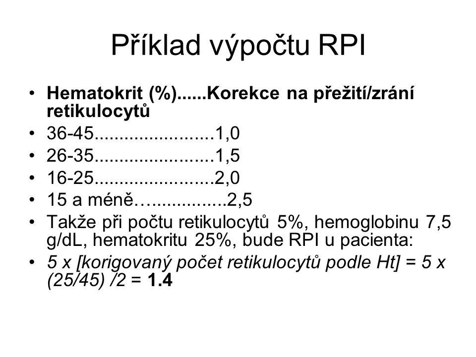 Příklad výpočtu RPI Hematokrit (%)......Korekce na přežití/zrání retikulocytů 36-45........................1,0 26-35........................1,5 16-25.